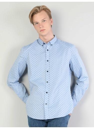 Colin's Slim Fit Shirt Neck Erkek Haki Uzun Kol Gömlek Mavi